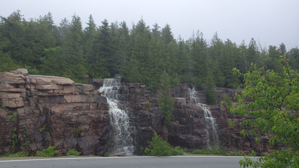 RV from Alabama to Nova Scotia waterfalls on Cadillac Mountain